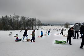 Viele Schlittenfahrer auf einem Schneehang in Dobel.