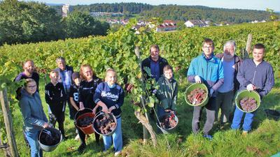 Bei der Weinlese eifrig mit angepackt hat die Weinbau-AG der Willy-Brandt-Realschule zusammen mit Lehrer Boris Knorr (hinten von links), den Eisinger Winzern Otto und Michael Keller und dem Lehrer im Ruhestand Wilhelm Kramer.