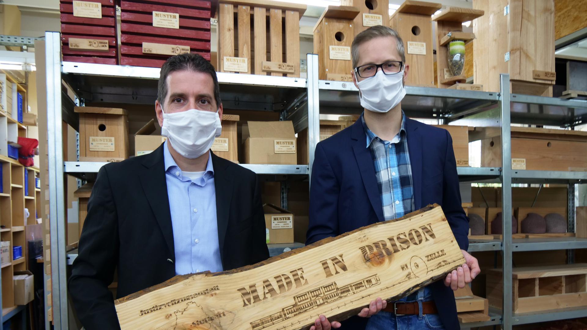 Made in prison: Für Frank Jansen und Lars Klapper (von links) ist es Slogan und Verpflichtung zugleich