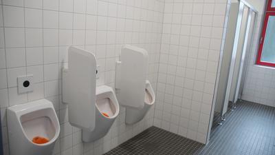 Stand der Technik: Bald sollen die Toiletten in der Willy-Brandt-Realschule genauso aussehen wie hier im benachbarten Lise-Meitner-Gymnasium, wo sie bereits erneuert worden sind.
