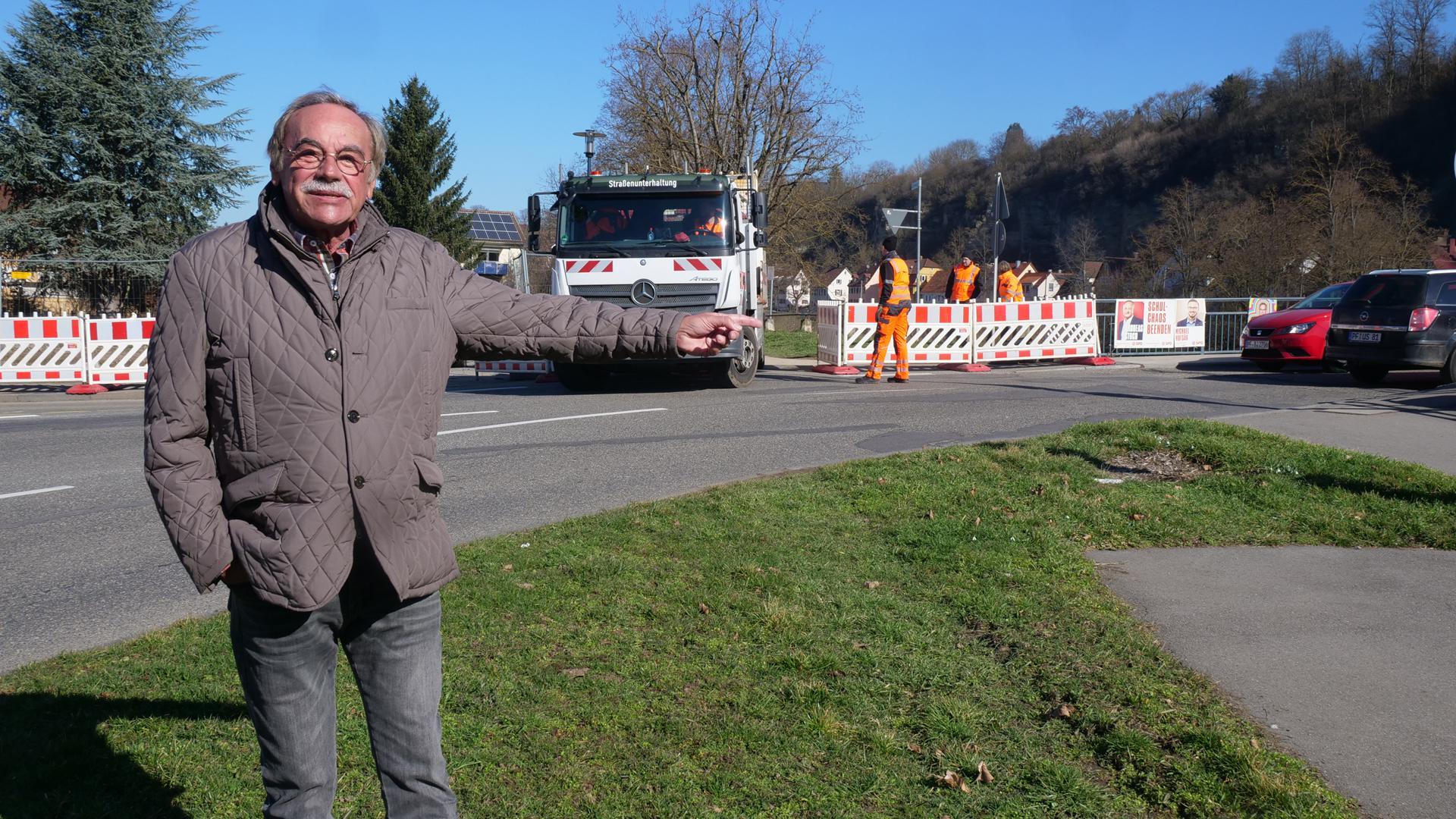 Mit der Einrichtung der Baustelle startet der Neubau der Herrenwaagbrücke. Für Mühlacker-Dürrmenz ist das ein Grund zur Freude, findet Stadtrat Rolf Leo