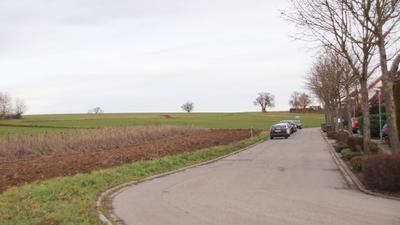 Straße mit Feld im Hintergrund.