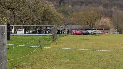Ein Hof mit zahlreichen geparkten Fahrzeugen.