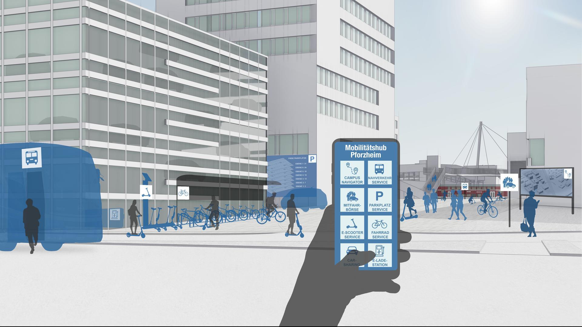 Animation zum Thema Mobilitätshub von Fraunhofer