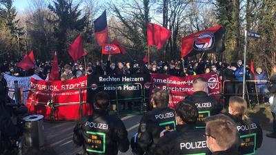 Demonstration am 27. Februar 2021 gegen die NPD-Gedenkveranstaltung auf dem Wallberg.