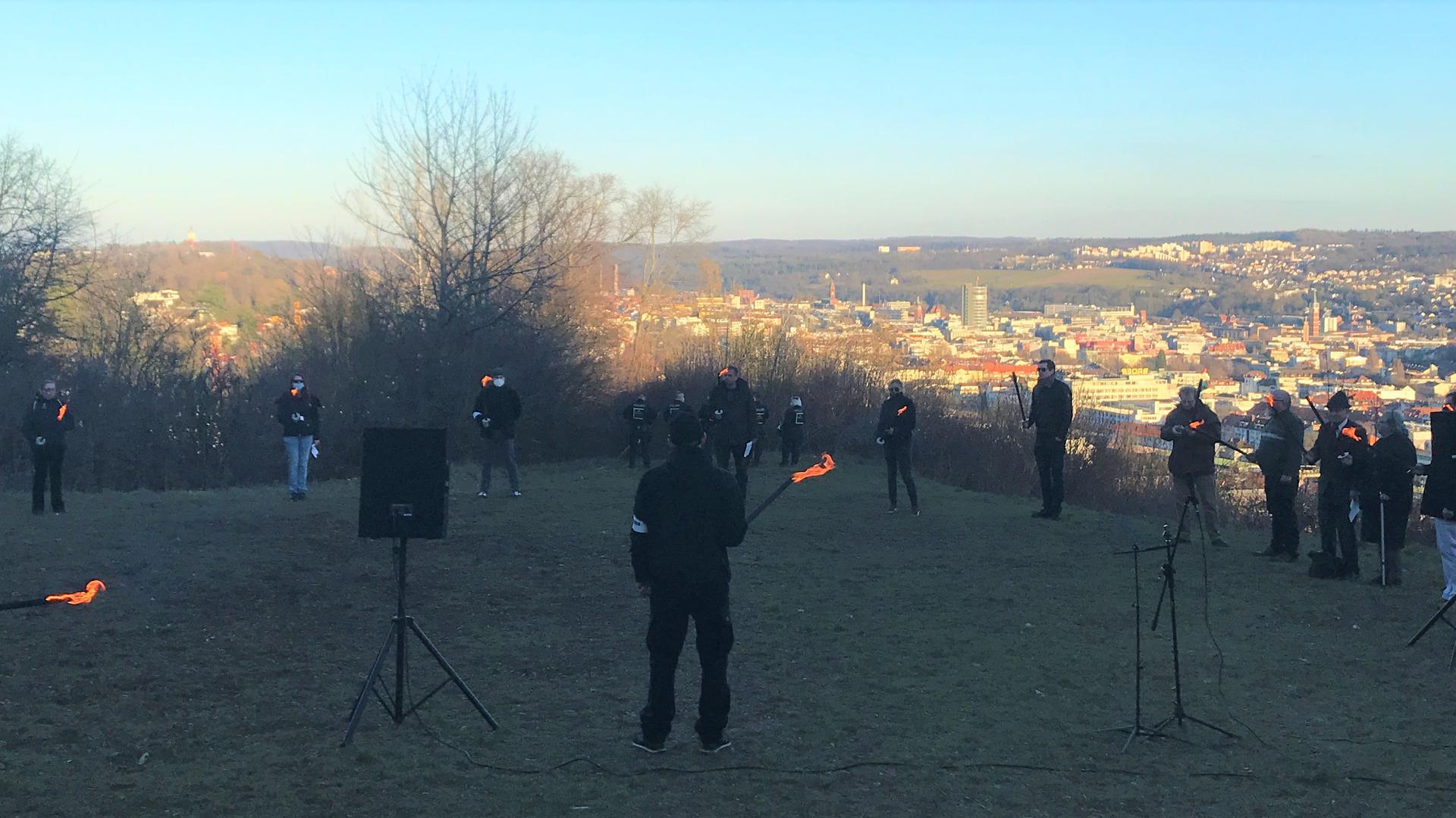 NPD-Gedenkveranstaltung am 27. Februar 2021 auf dem Wallberg für die Opfer des Bombenangriffs auf Pforzheim.