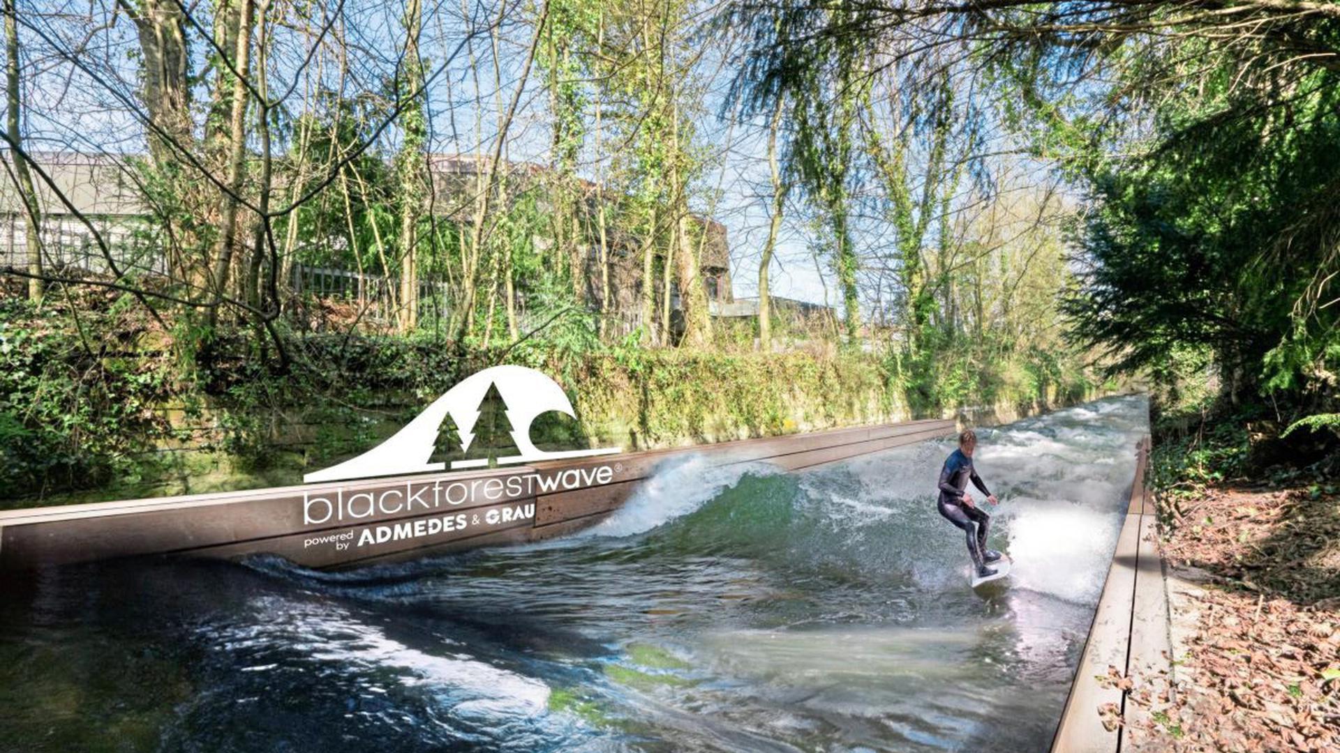Wassersport auf der Nagold: Ab November soll mit der Blackforestwave im Pforzheimer Metzelgraben beim Kupferdächle gesurft werden können.