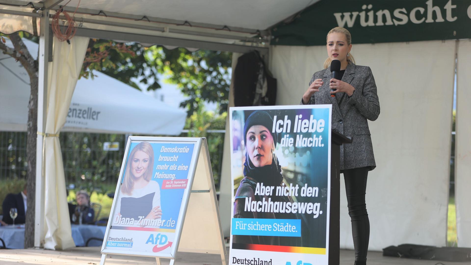 Die Pforzheimer AfD-Direktkandidatin Diana Zimmer spricht bei einer Wahlkampfveranstaltung im Enzauenpark.