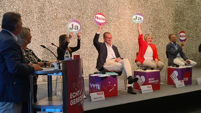 """Links stehen zwei Personen an einem Podest, daneben sitzen die Bundestagskandidatinnen und -kandidaten, sie halten Schilder hoch, auf denen """"Ja"""" oder """"Nein"""" steht"""
