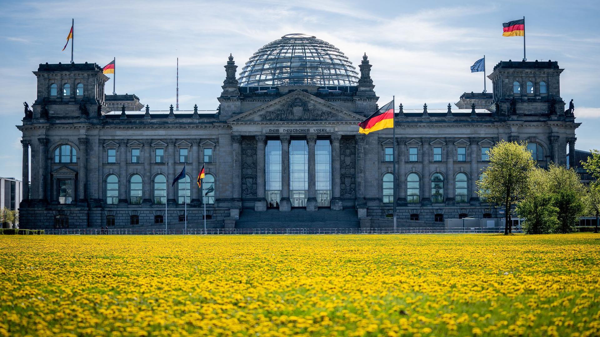 Das Reichstagsgebäude in Berlin am Morgen.