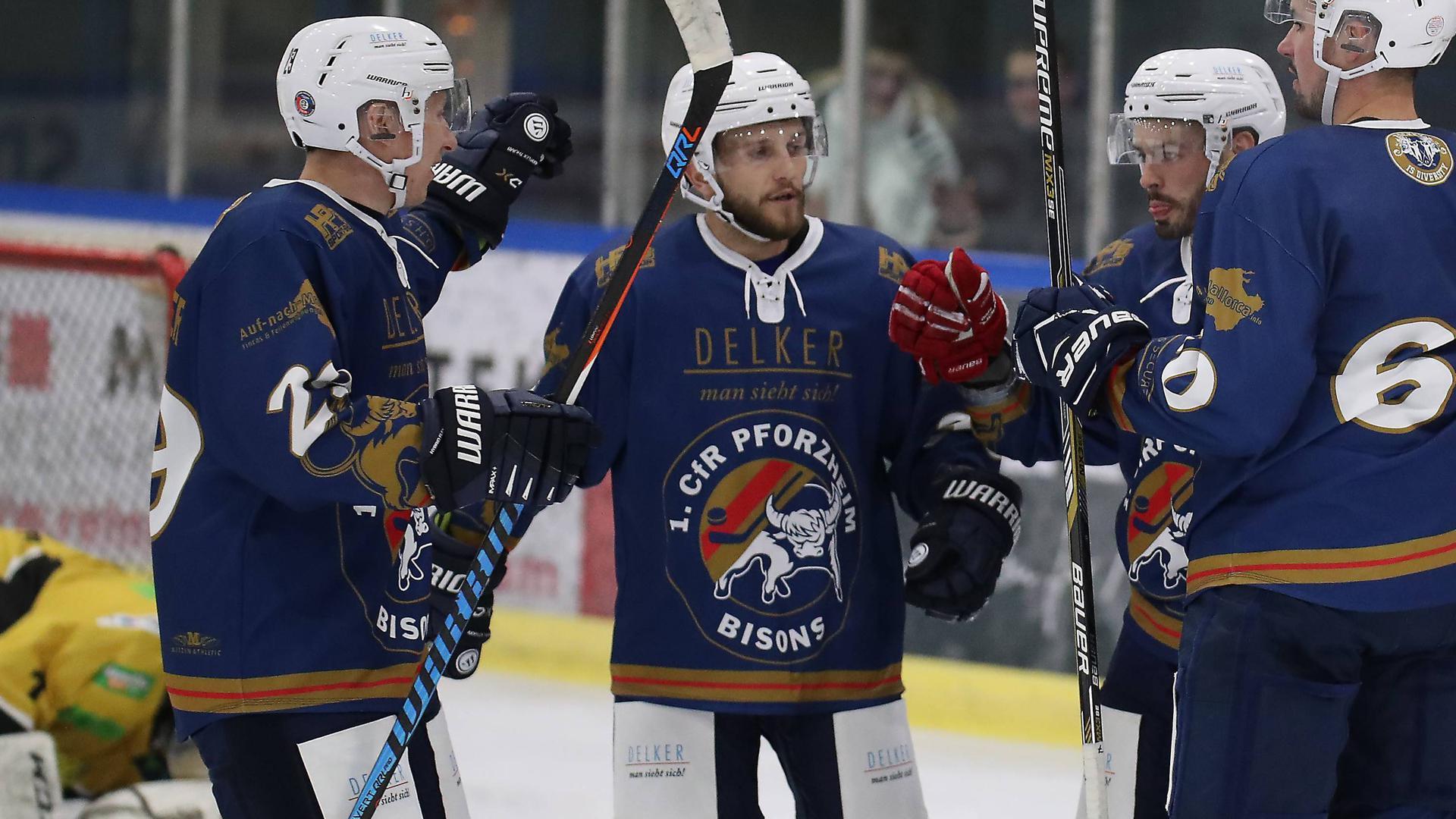 Saison 2019/20 Eishockey Bisons beim Torjubel