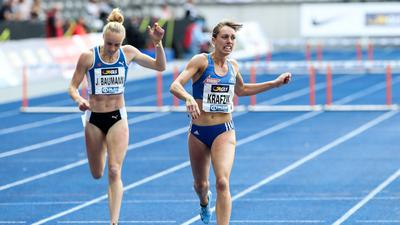 Leichtathletik - Deutsche Meisterschaften - 2019 Berlin, Deutschland 03.- 04. August 2019: Leichtathletik - Deutsche Meisterschaften - 2019 v.li. Jackie Baumann (LAV Stadtwerke Tuebingen), Carolina Krafzik (VfL Sindelfingen) *** Athletics German Championships 2019 Berlin, Germany 03 04 August 2019 Athletics German Championships 2019 v left Jackie Baumann LAV Stadtwerke Tuebingen , Carolina Krafzik VfL Sindelfingen Copyright: xBEAUTIFULxSPORTS/Footcornerx
