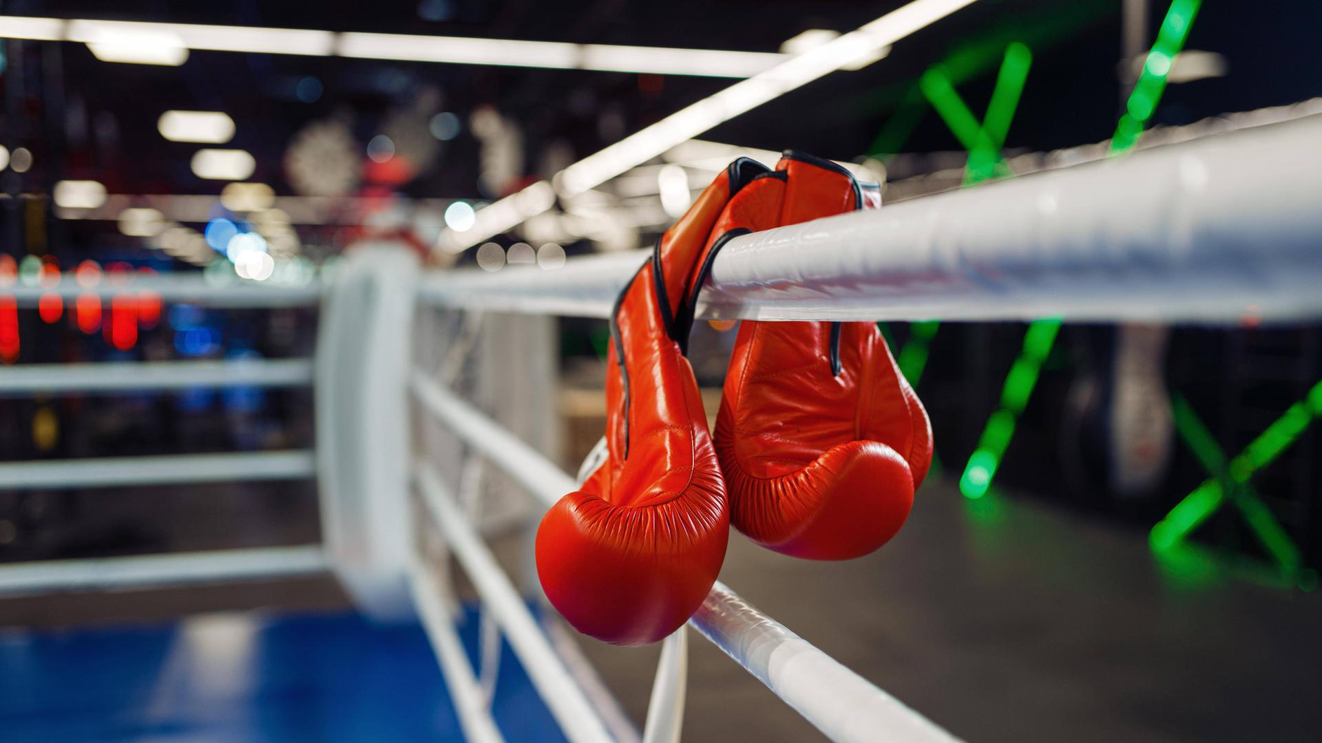 Pair of red boxing gloves hanging on a ropes Copyright: xNomadSoulx Panthermedia28310802