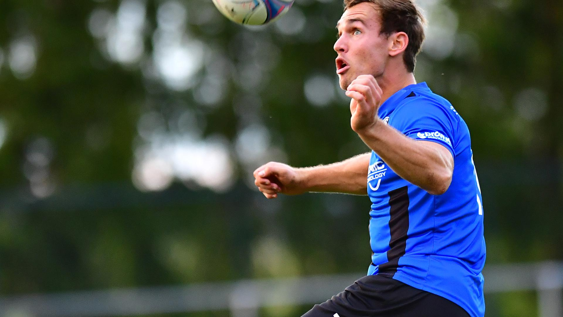 am Ball Dominic Riedel (Langensteinbach)   GES/ Fussball/ Landesliga, SV Langensteinbach -ATSV Mutschelbach 2,  13.09.2019