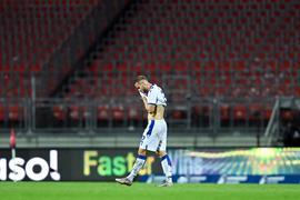 Frust bei  Christoph Kobald (KSC) nach dem Spiel.