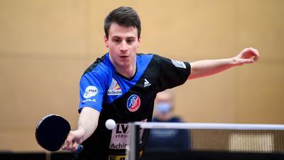 Deni Kozul (ASV Gruenwettersbach).  GES/ Tischtennis/ 1. Bundesliga: ASV Gruenwettersbach - TTC Neu-Ulm, 31.01.2021 --