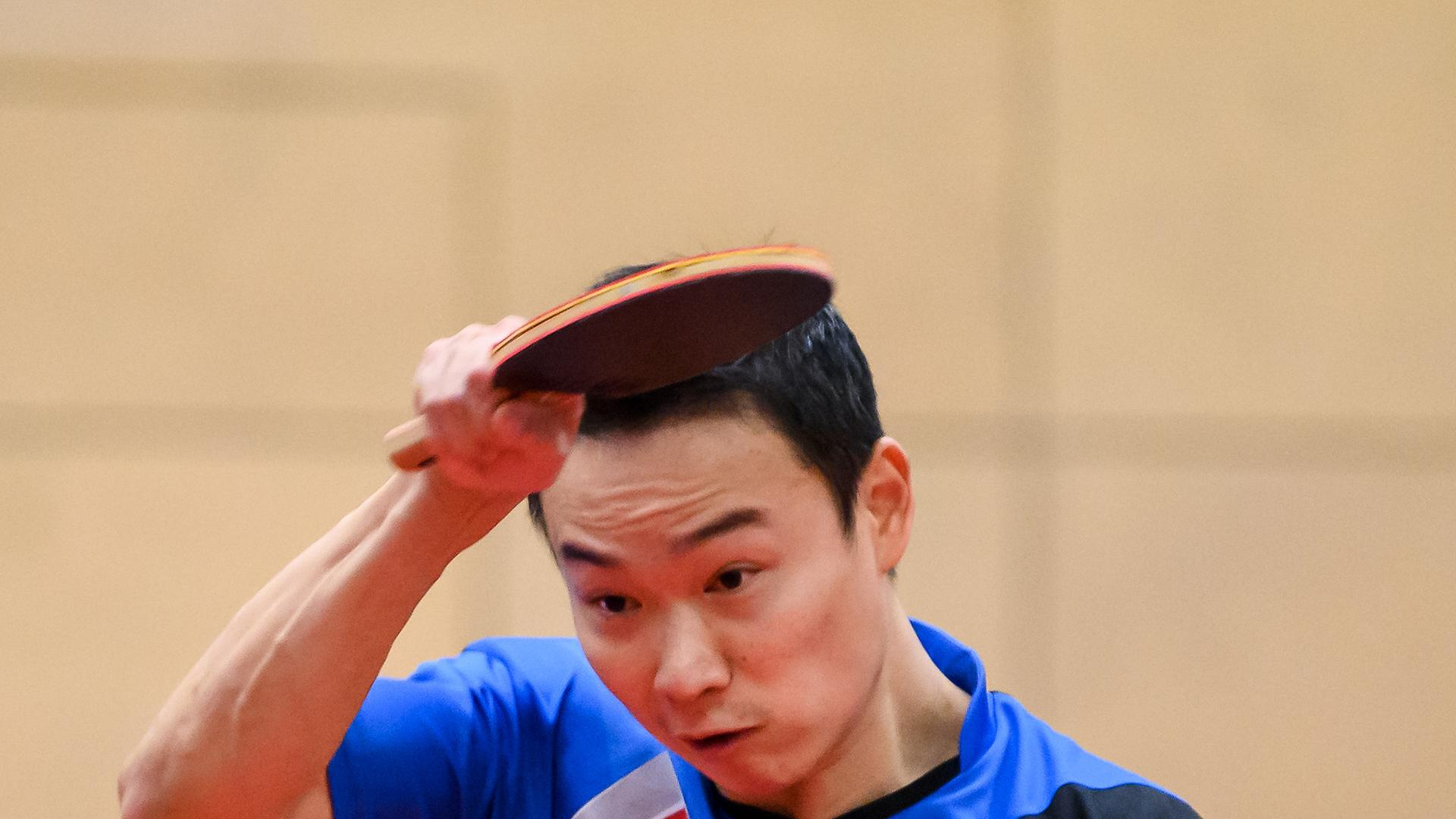 Wang Xi (ASV Gruenwettersbach).  GES/ Tischtennis/ 1. Bundesliga: ASV Gruenwettersbach - TTC Neu-Ulm, 31.01.2021 --