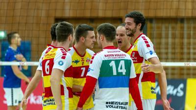 v.l. Felix Roos, Leon Zimmermann, Benjamin Dollhofer, Jens Sandmeier (SSC Karlsruhe)   GES/ Volleyball/ 2. Bundesliga-Sued: Baden Volleys SSC Karlsruhe - Volleys Leipzig 12.09.2020 --