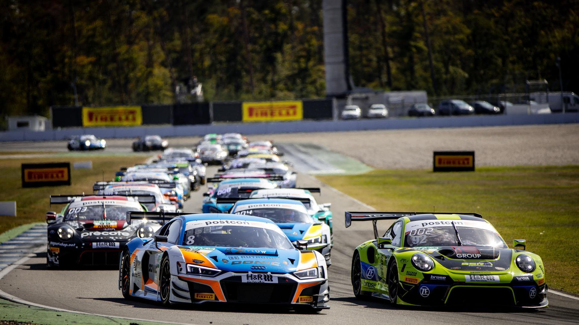 Rutronik-Fahrer Dennis Marschall konnte in seinem Audi in der ersten Rennhälfte auf dem Hockenheimring lange seine Führung behaupten.