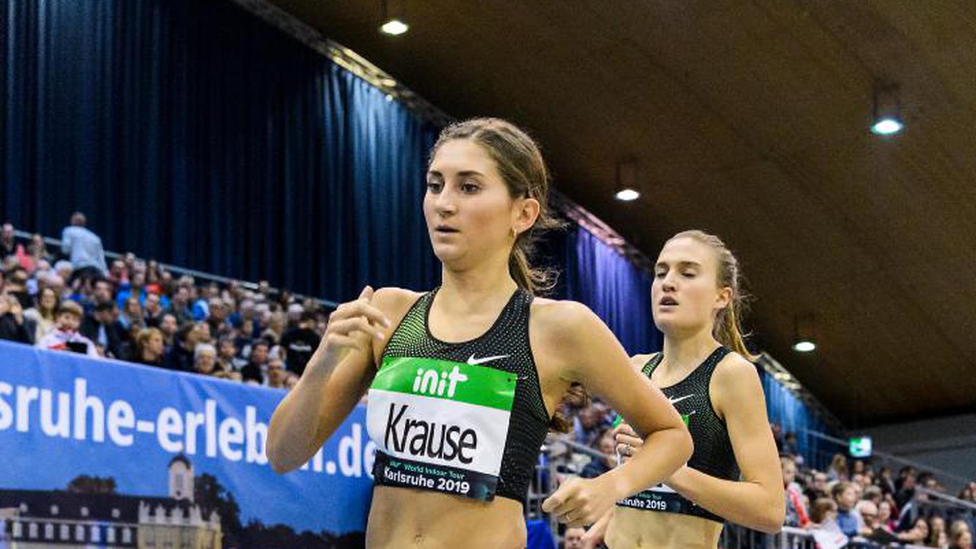 3000m Frauen: Gesa Felicitas Krause (GER).  GES/ Leichtathletik/ IAAF Indoormeeting Karlsruhe, 02.02.2019