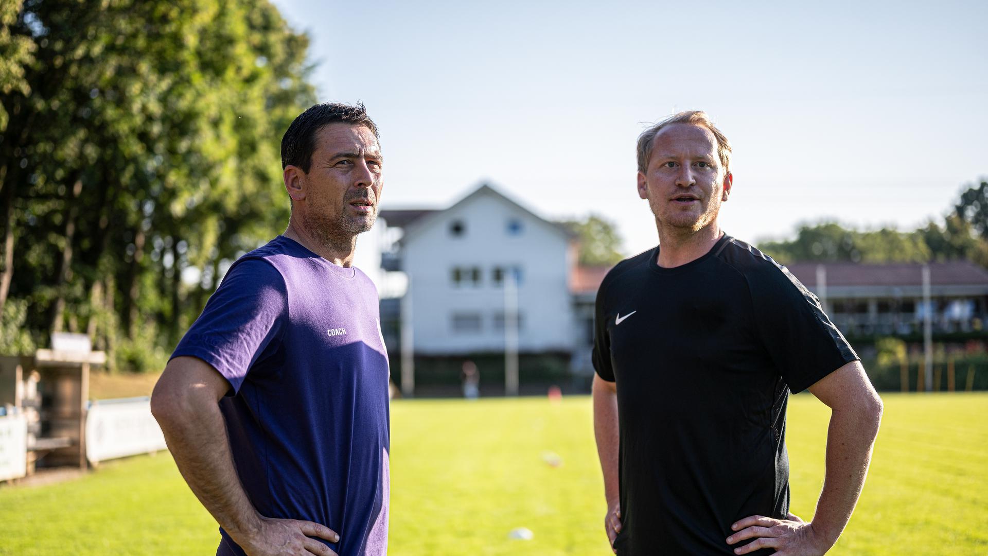Steffen Haas  (r.) und  Trainer Daniel Kreuzer (SpVgg Durlach-Aue), 21.07.2020