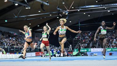 Shania Collins (USA/ 60m Lauf) siegt.  GES/Leichtathletik/ Indoor Meeting Karlsruhe   IAAF World Indoor Tour, 31.01.2020