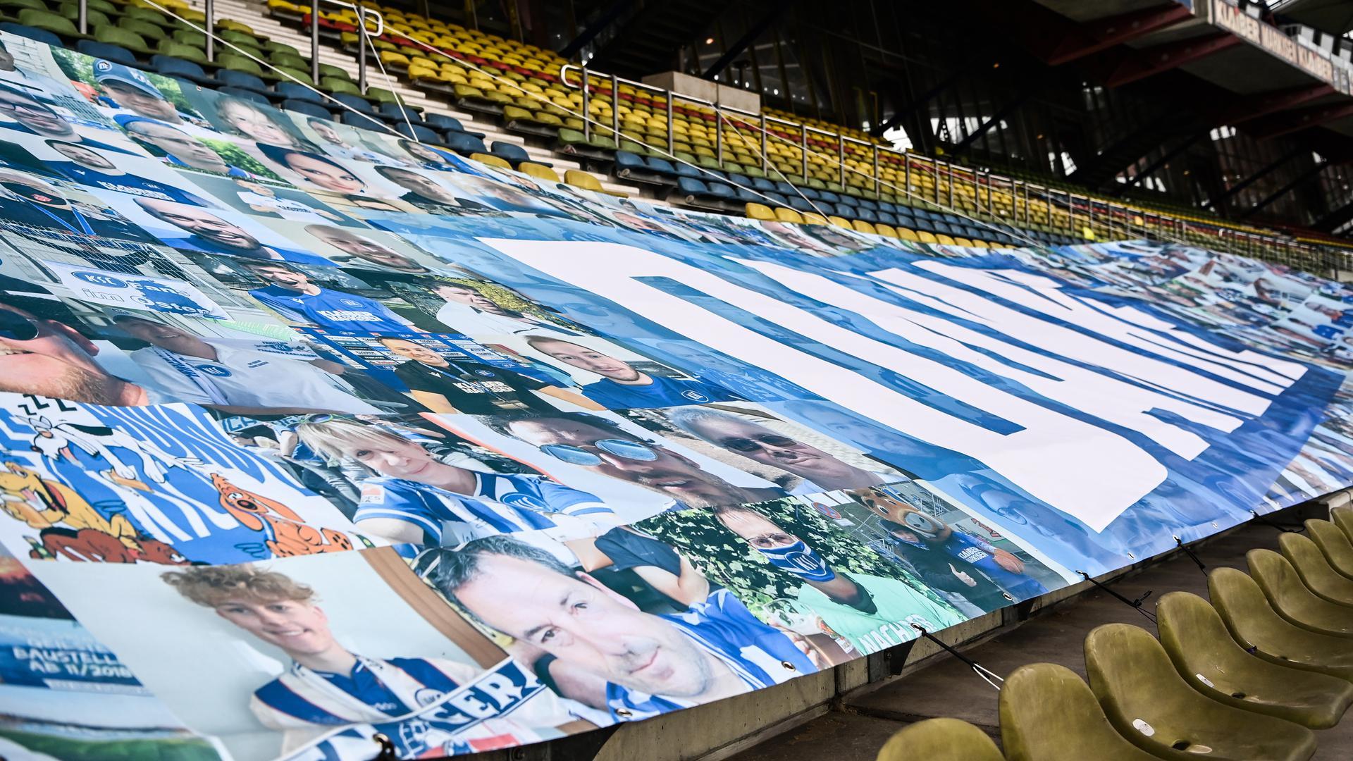 Unterstützung via Banner: Beim Derby gegen Stuttgart waren Mitte Juni KSC-Fans noch nicht leibhaftig vertreten. Das könnte sich bald ändern.