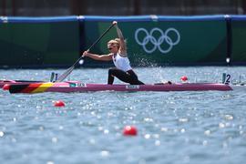 04.08.2021, Japan, Tokio: Kanu: Olympia, Vorkampf, Frauen, 200 Meter im Sea Forest Waterway. Sophie Koch aus Deutschland in Aktion. Foto: Jan Woitas/dpa +++ dpa-Bildfunk +++