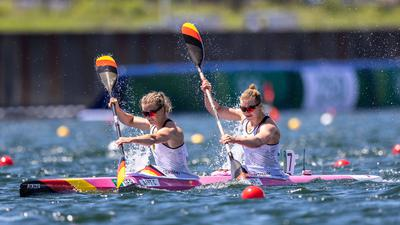 OLYMPICS - Summer Olympic Games, Olympische Spiele, Olympia, OS 2020 TOKYO,JAPAN,03.AUG.21 - OLYMPICS, CANOE - Summer Olympic Games 2020, Canoe Sprint, K2, 500m, women. Image shows Caroline Arft and Sarah Bruessler GER. PUBLICATIONxNOTxINxAUTxSUIxSWE GEPAxpictures/xMichaelxMeindl
