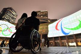Preparation for 2020 Tokyo Paralympics The Paralympics three agitos (R) symbol, meaning I move in Latin, is projected in front of the Tokyo metropolitan government building on July 27, 2017. The 2020 Tokyo Paralympics will mark three years to the opening on Aug. 25. PUBLICATIONxINxGERxSUIxAUTxHUNxONLY  preparation for 2020 Tokyo Paralympics The Paralympics Three Agitos r symbol meaning I Move in Latin is projected in Front of The Tokyo Metropolitan Government Building ON July 27 2017 The 2020 Tokyo Paralympics will Mark Three Years to The Opening ON Aug 25 PUBLICATIONxINxGERxSUIxAUTxHUNxONLY