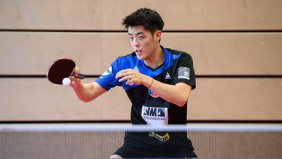 Dang Qiu (Gruenwettersbach).  GES/ Tischtennis/ 1. Bundesliga: ASV Gruenwettersbach - Mannschaftsfototermin, 15.08.2020 --