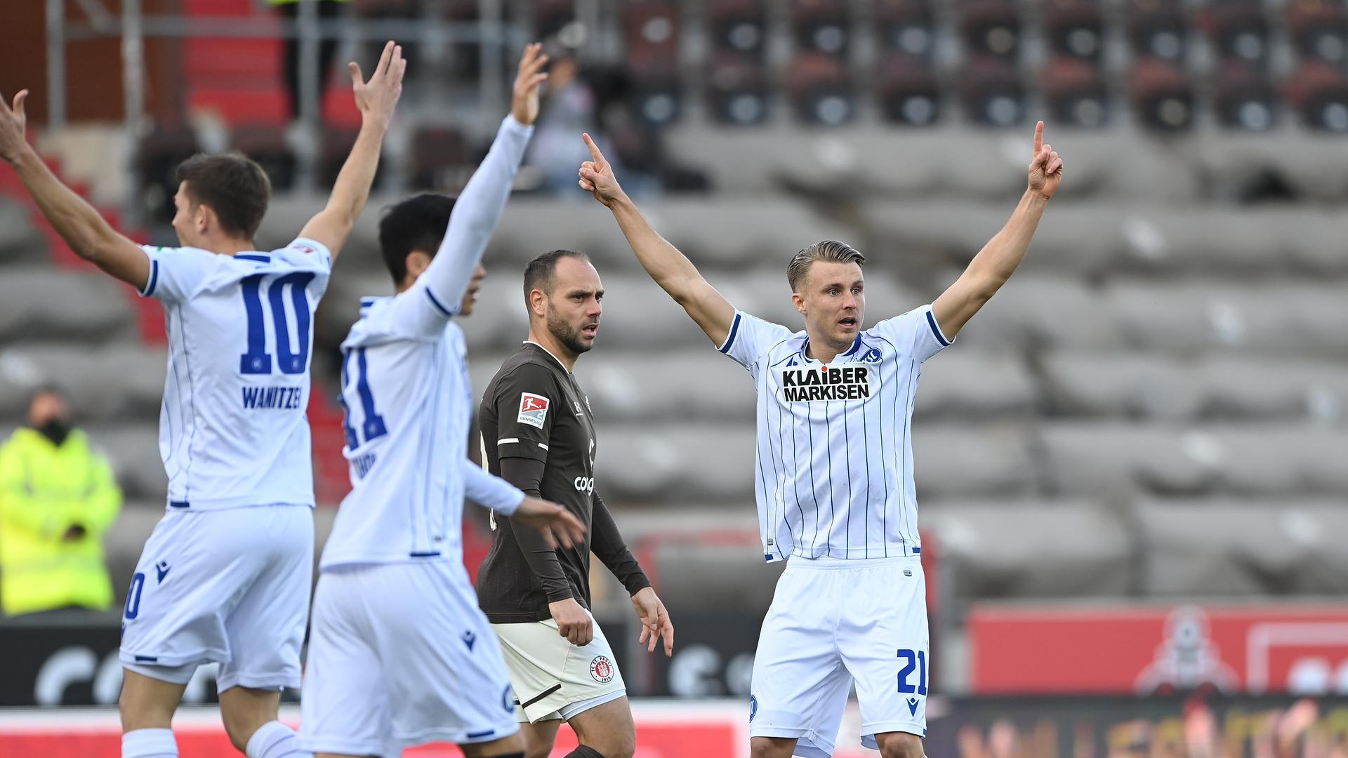 Marco Thiede erzielte beim Auswärtssieg gegen St. Pauli sein erstes Tor im KSC-Trikot.