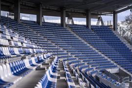 """Leere Ränge: Die hat der Karlsruher SC noch sehr lange auch auf der neuen Osttribüne zu erwarten, die mit dem Heimspiel gegen Fortuna Düsseldorf im Dezember """"bezogen"""" werden wird."""