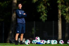Trainer Christian Eichner (KSC).  GES/ Fussball/ 2. Bundesliga: Karlsruher SC - Training, 30.09.2020  Football/Soccer: 2. Bundesliga: KSC, Training, Karlsruhe, September 30, 2020