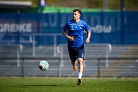 Zurück bei der Arbeit: Linksverteidiger Philip Heise nahm zusammen mit seinen Mitspielern vom Karlsruher SC am Mittwoch wieder das Mannschaftstraining auf.