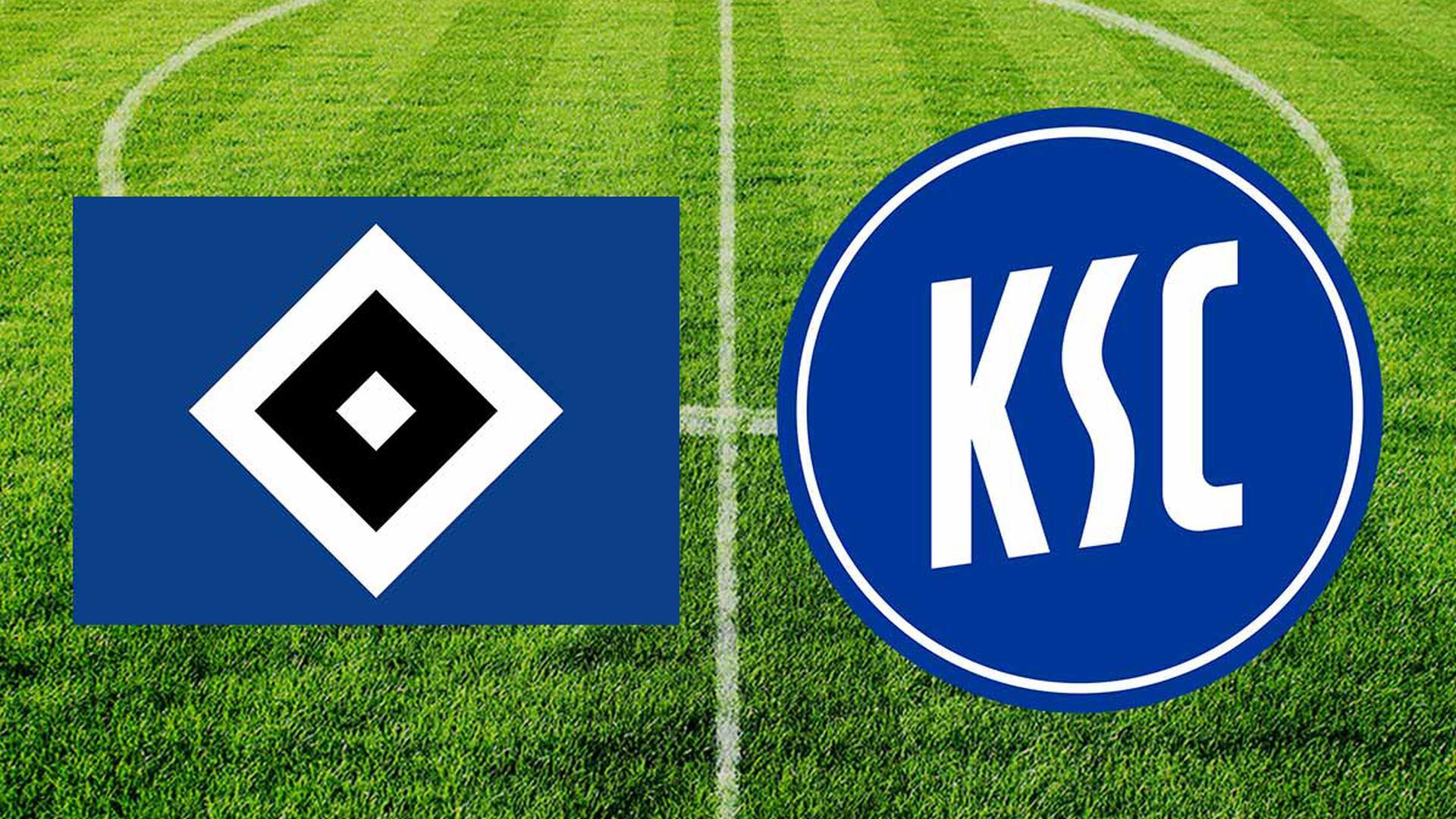 HSV Logo und KSC Logo vor einem Fußballplatz
