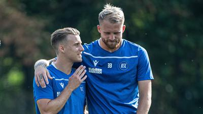 Philip Heise (KSC), Marc Lorenz (KSC), Marco Thiede (KSC), Philipp Hofmann (KSC).  GES/ Fussball/ 2. Bundesliga: Karlsruher SC - Training,  16.09.2020  Football/Soccer: 2. Bundesliga:  KSC Trainingsession, Karlsruhe, September 16, 2020