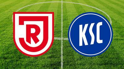 Logos der Zweitliga-Mannschaften SSV Jahn Regensburg und Karlsruher SC vor einem Fußballrasen.