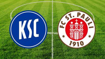 Logos des KSC und des FC St. Pauli vor einem Fußballrasen.