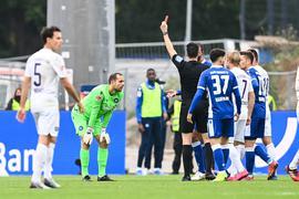Philipp Hofmann (KSC, r) trifft zum 2-0.  GES/ Fussball/ 1. Bundesliga: SC Freiburg - RB Leipzig, 16.10.2021  Football / Soccer: 1st League: Sport-Club Freiburg vs Rasenballsport Leipzig, Freiburg, October 16, 2021