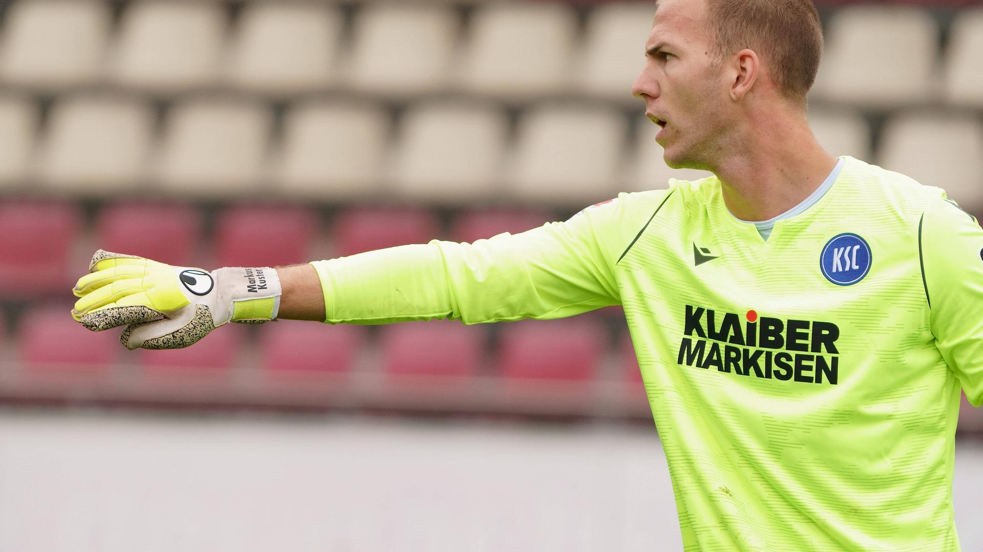 Spielpraxis im Test: Markus Kuster vertrat bei der KSC-Niederlage beim FC Augsburg die Karlsruher Nummer eins, Marius Gersbeck.