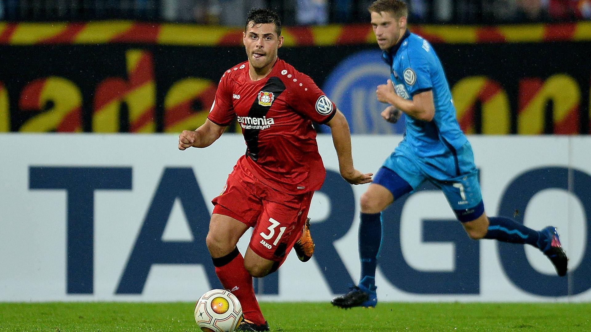 Neuauflage im Pokal: Nur das Nachsehen blieb KSC-Profi Marc Lorenz am 11. August mit den Karlsruhern gegen den damals für Bayer Leverkusen stürmenden Kevin Volland. Der Werksclub gewann das Erstrundenmatch mit 3:0 in der Verlängerung.