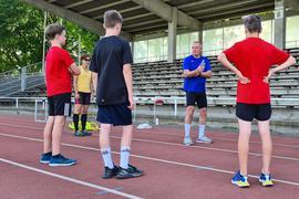 Udo Laub beim Leichtathletik-Training in Weinheim