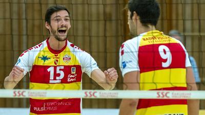 Jens Sandmeier und   9 Thorben Sandmeier (SSC Karlsruhe)   GES/ Volleyball/ 2. Bundesliga-Sued: Baden Volleys SSC Karlsruhe - Volleys Leipzig 12.09.2020 --