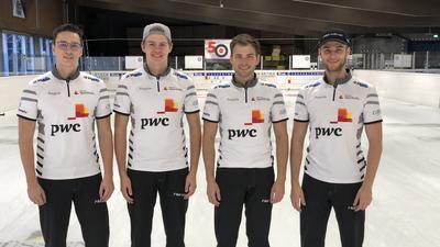 Deutsche Curling-Nationalmannschaft 2020/21: von links Dominik Greindl, Joshua Sutor, Marc Muskatewitz, Sixten Totzek.