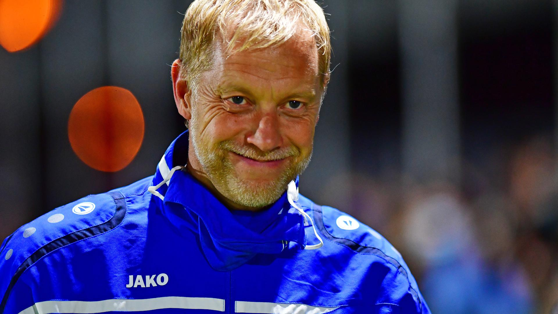 Trainer des ATSV Mutschelbach Dietmar Blicker  GES/ Fussball/ Verbandsliga/ ATSV Mutschelbach - SV Spielberg, 10.02.2020