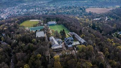 Drohnenbild auf die Sportschule Schoeneck in Karlsruhe-Durlach