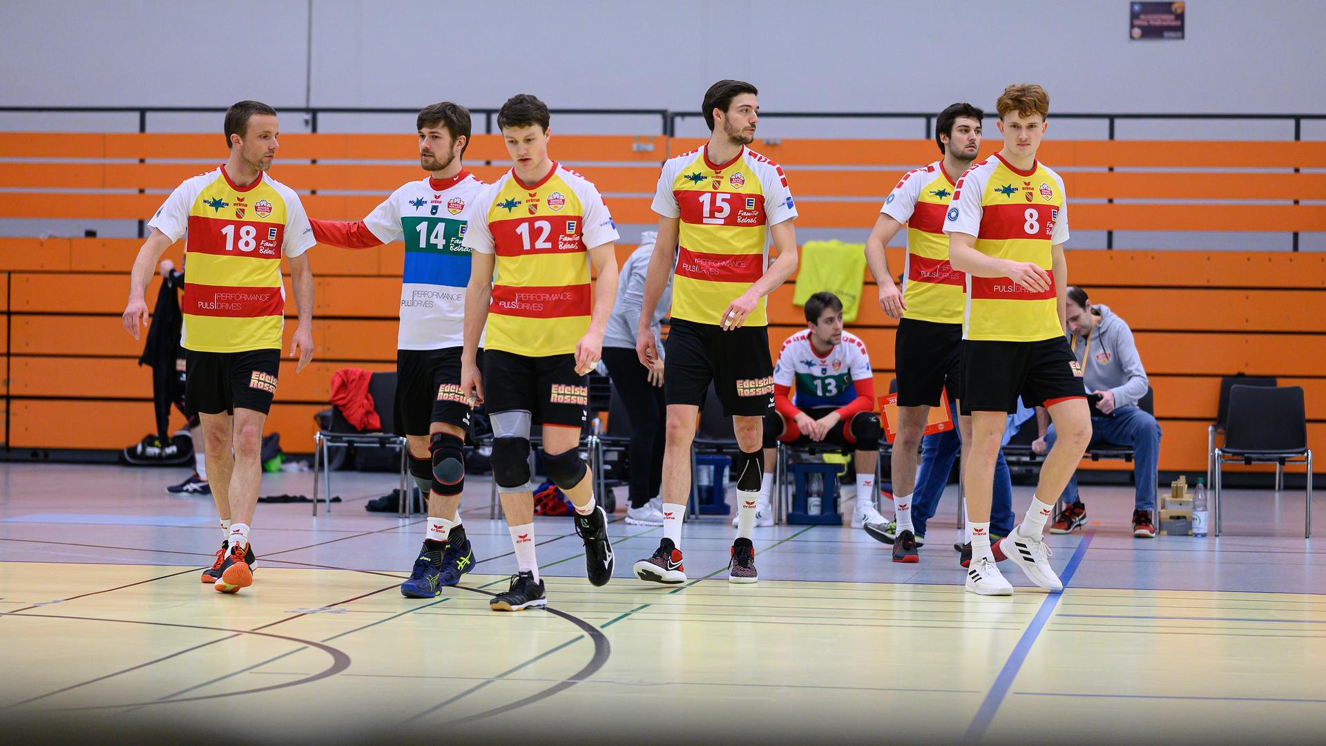 Sebastian Sent (18/SSC KA), Benjamin Dollhofer (14/SSC KA), Lukas Jaeger (12/SSC KA), Jens Sandmeier (15/SSC KA), Julian Schupritt (8/SSC KA) / v.l.  GES/ Volleyball/ 2. Bundesliga-Sued: Baden Volleys SSC Karlsruhe - SV Schwaig, 06.02.2021 --