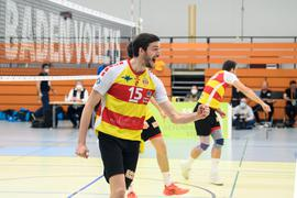 Jubel beim SSC, Mitte: Jens Sandmeier (SSC).  GES/ Volleyball/ 2. Bundesliga-Sued: Baden Volleys SSC Karlsruhe - TV / DJK Hammelburg, 24.04.2021 --