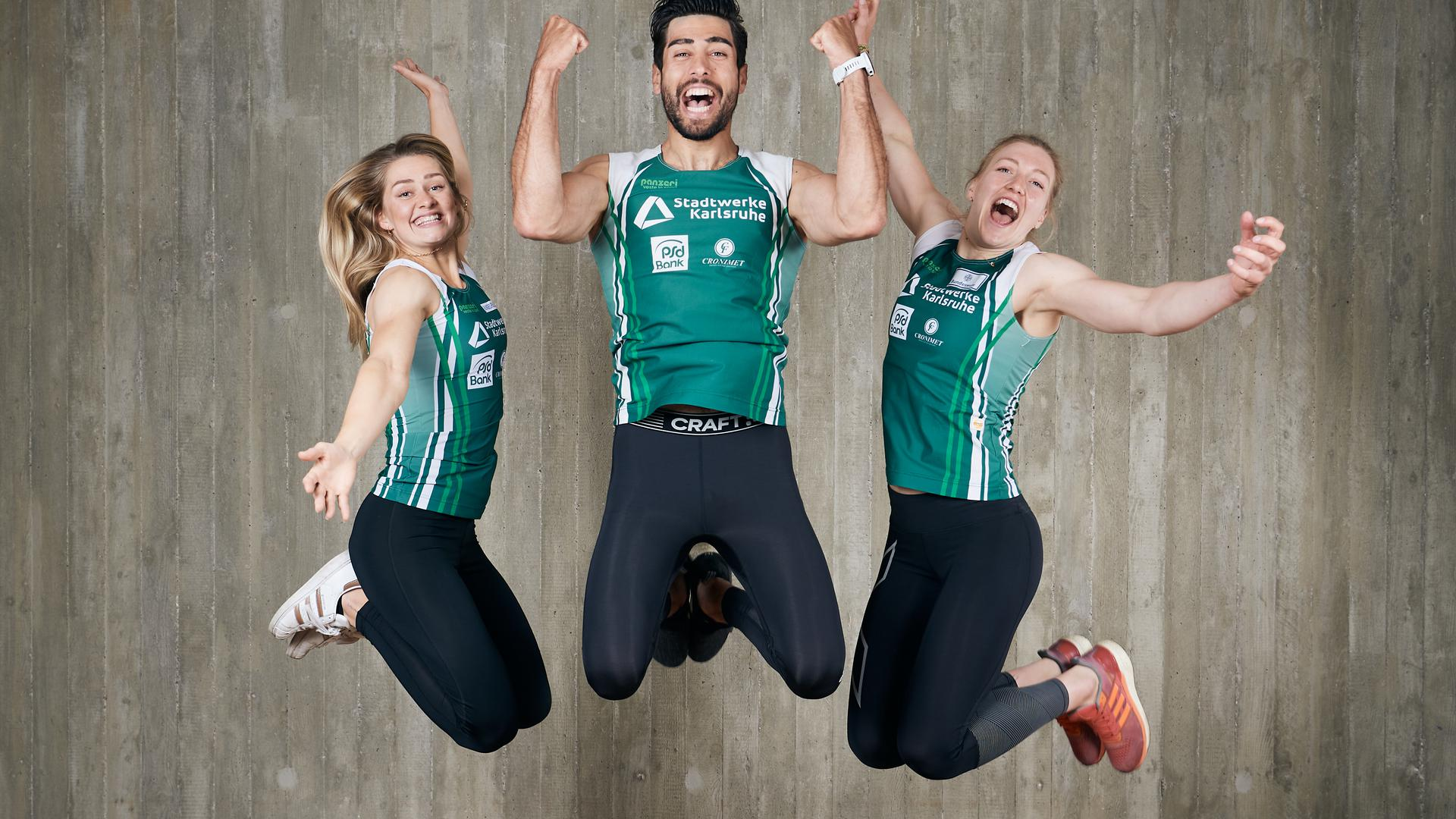 Sophie Koch, Saeid Fazloula, Sarah Bruessler, (von links).  GES/ Kanu-Rennsport/ Rheinbrueder Karlsruhe, 13.04.2021